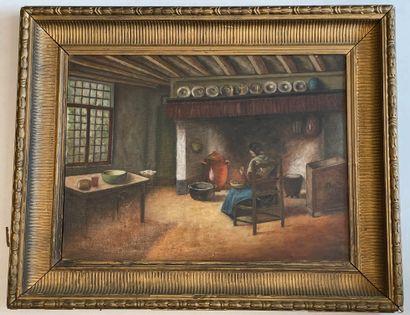 Ecole du Nord, XXe siècle  Femme près du feu  Huile  40 x 54 cm  Petits accros
