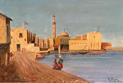 A. ROSSI (XIXe siècle)  Scène de port  Huile...