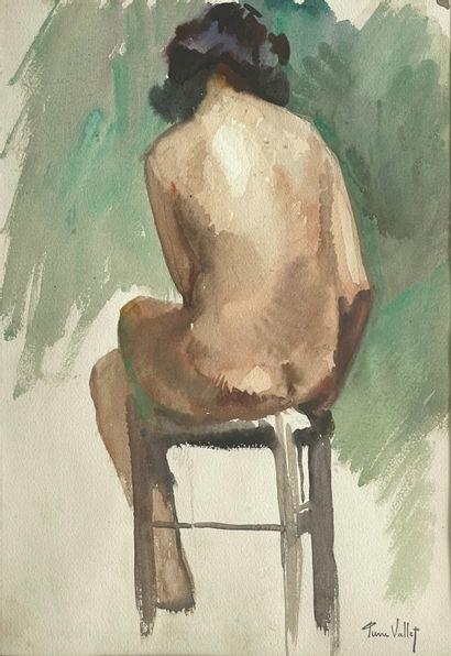 Pierre Vallet (1884-1971)  Nu de dos  Aquarelle...