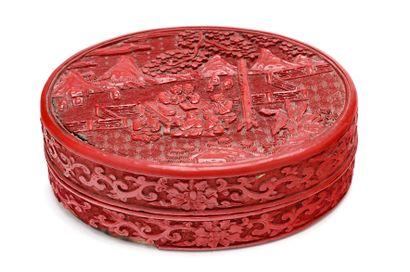 CHINE - XXe siècle  Boîte ovale en laque...