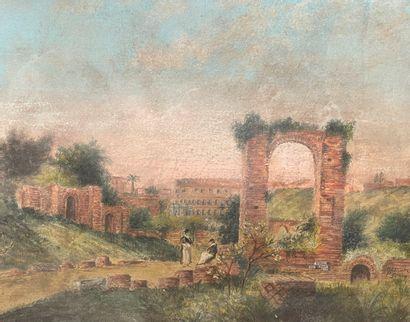 Federico SCHIANCHI (1858-1919)  Ruine animée...