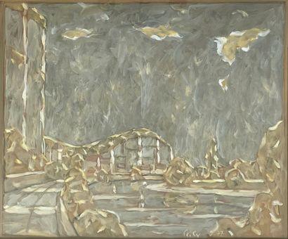 Ecole du XXe siècle  Le pont  Gouache sur...