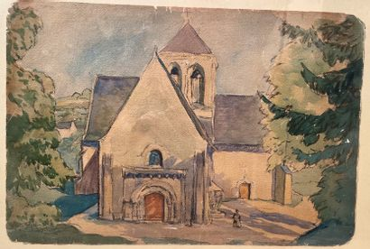 Ecole française du XXe siècle  Vue d'église...