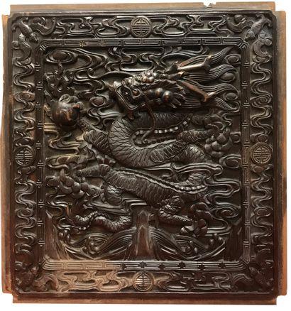 CHINE - XIXe siècle  Eléments d'armoire démontée...