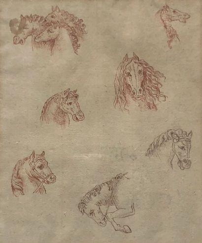 Léonard de Vinci (d'après)  Etude de chevaux...