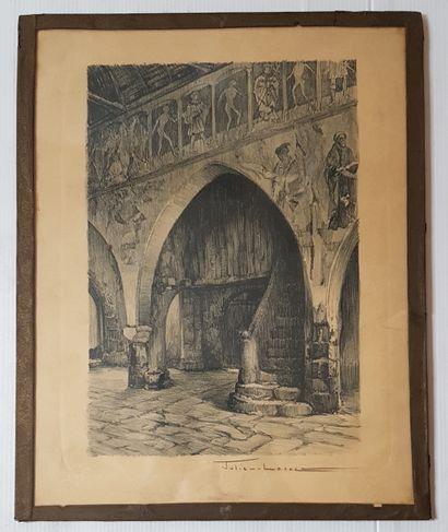 Julien LACAZE (1886-1971)  Arcades  Eau forte,...