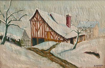 R. CHANDLER (?)  Paysage enneigé, 1946  Huile...