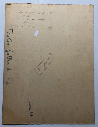 Toutes Folles de lui  Maquette. Gouache et papiers collés signée Vanni TEALDI  50...