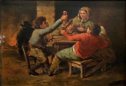 Felix VAN DEN EYCKEN (XIXe siècle)  Buveurs...