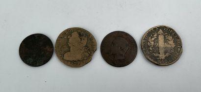 Lot de quatre monnaies anciennes dont rois des français 1792, Napoléon III 1854....
