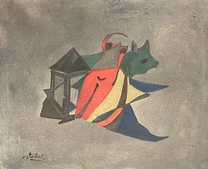 Edgar STOEBEL (1909-2001)  Composition  Huile...