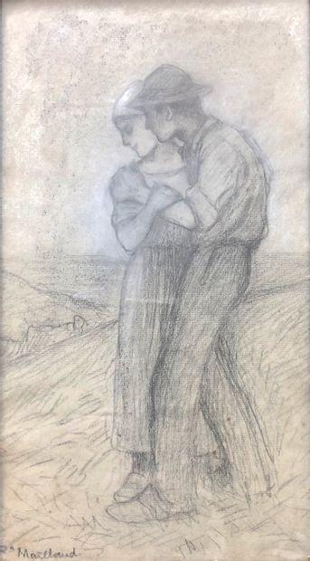 Fernand MAILLAUD (1863-1948)  Couple  Fusain,...