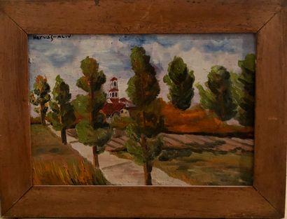 Hervas (?)  Paysage  Huile sur panneau  19,5 x 28 cm