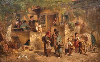 Ecole italienne du XIXème siècle  Village...