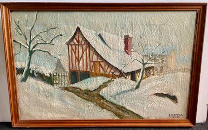 R. CHANDLER (?)  Paysage enneigé, 1946  Huile sur toile, signée et datée en bas...