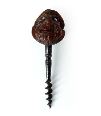 Tire-bouchon en métal, tête sculptée avec...