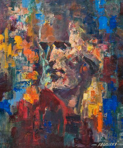 Robert FALCUCCI (1900-1989)  Christ de profil...