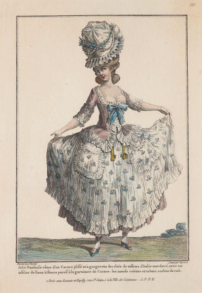 Gravure représentant une élégante du XVIIIe...