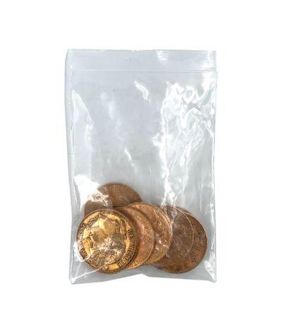 Lot de 10 pièces vingt francs or  Poids: 64,34 g