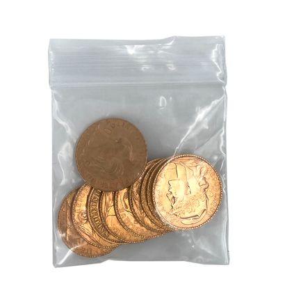 Lot de 10 pièces vingt francs or  Poids: 64,48 g