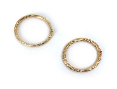 Deux bracelets en or jaune 18K 750°/°° Poids: 24,55 g