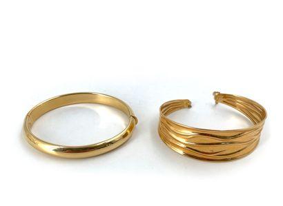 Lot de deux bracelets en or jaune 18K 750°/°° Poids: 26,60 g