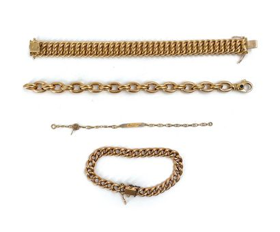 Lot de trois bracelets en or jaune 18K 750°/°°...