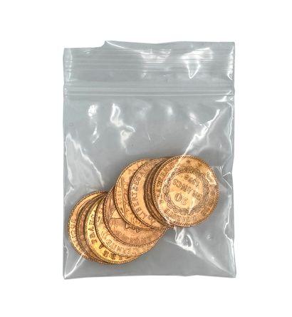 Lot de 10 pièces vingt francs or Poids: 64,47 g