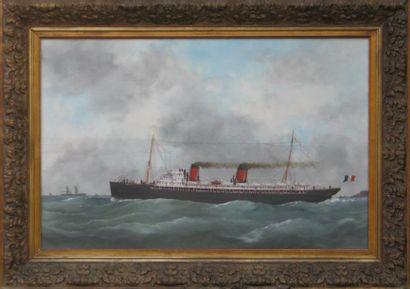 Edouard ADAM (1847-1929) « Le Savoie » Huile sur toile, signée en bas à droite, datée...
