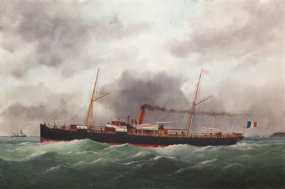 Edouard ADAM (1847-1929, Peintre de la Marine) « Paquebot Mustapha Ben Ismaïl de...