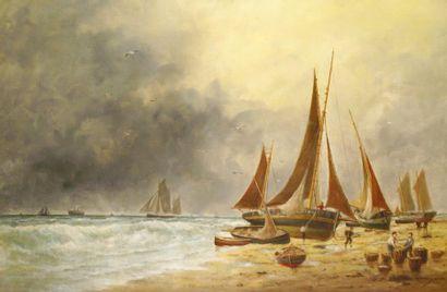Edouard ADAM (fils) (1923) « Barques de pêche sur la grève » Huile sur toile, signée...