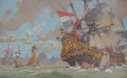 Albert BRENET (1903-2005) «Vaisseau hollandais devant un port» Grande gouache signée...