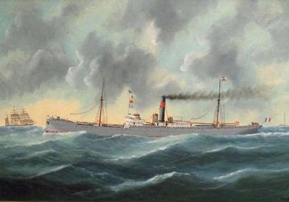 """Edouard ADAM (1868-1938) «Le vapeur mixte """"MT-Cenis"""" arborant le pavillon de la SGTM»..."""