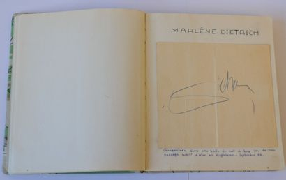 ALBUM AMICORUM. Carnet contenant des signatures de: Marlene Dietrich, Tyrone Power,...