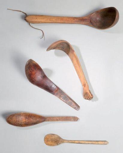 Lot de cinq cuillières en bois Haïda et Déné....