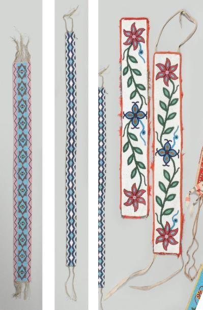 Lot de quatre bandes perlées Cree et Chippewa...