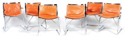 Ensemble de sièges en métal chromé comprenant...
