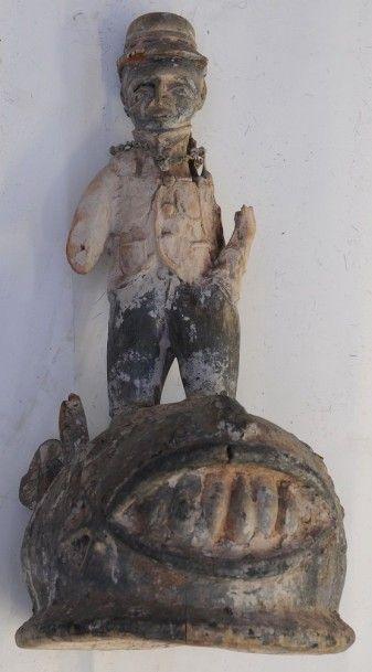 Masque Heaume Gelédé avec personnage – Yoruba...