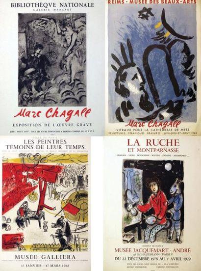 Lot de 4 Aff. Chagall / Bibliothèque Nationale...