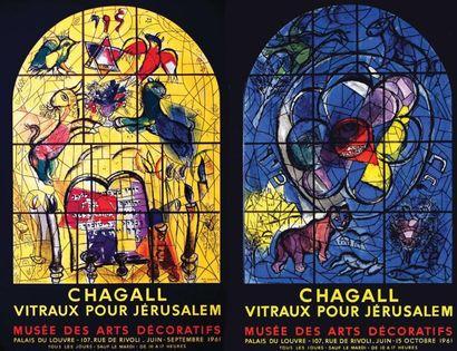 Lot de 2 Affiches Chagall - Vitraux pour...