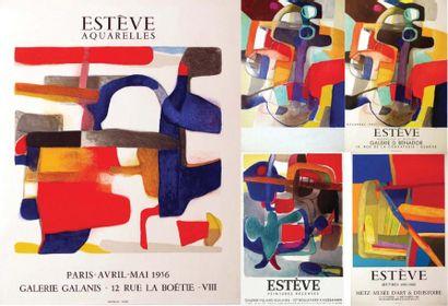 Lot de 5 Affiches Estève / ESTEVE / Galerie...