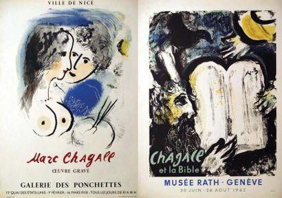 Lot de 2 Affiches Chagall / Marc Chagall. Galerie des Ponchettes. 1958. Ville de...