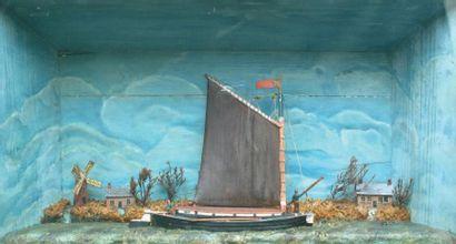 Diorama. «Bateau sur un canal». Art Populaire,...