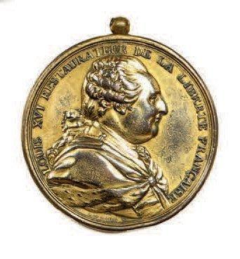Louis XVI (1754-1793). Médaille murale en...