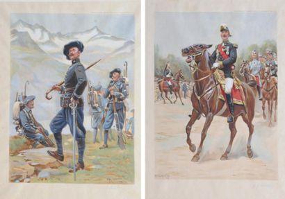 LALAUZE (Alph) Costumes militaires de l'armée française 1902-1907. Important ouvrage...