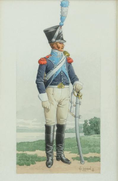 GOICHON. (A.) Train des équipages sous le 1er Empire. Uniforme de trompette en grande...