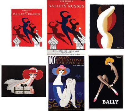 Lot de 6 Affiches Villemot - VILLEMOT BERNARD...