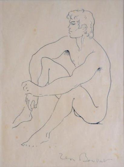Jean BOULLET (1921-1970) Jeune Berger Encre de chine sur papier. Signée en bas à...