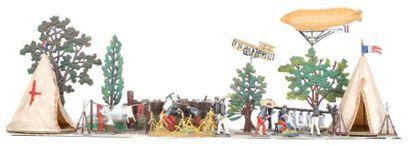 France. 1915 «Le bivouac». 2 tentes, fascines, arbres, aéroplane, ballon dirigeable,...