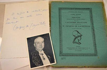 LACRETELLE Jacques de [Cormatin, 1888 - Paris, 1985] Écrivain français Pensée autographe...